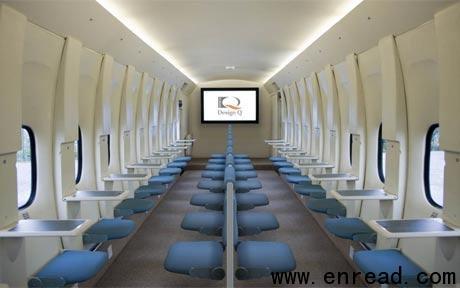 英国设计公司design q最近正在研发一种与火车座位车厢类似的新型飞机